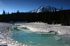 """Frozen Rainier"" (Bojorchess) Tags: lake snow reflection june frozen mount rainier 2010 landscapeset"