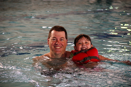 daddy and mickey swimming