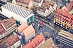 Focus on Haring (christian.senger) Tags: road city red people urban car museum architecture facade digital germany geotagged grey miniature nikon europe dof outdoor gray ulm lightroom d300 tiltshift christiansenger:year=2010