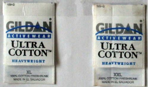 Gildan labels from Copatex