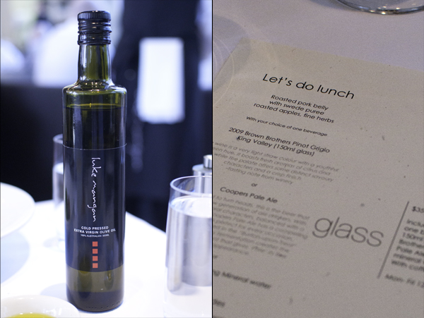 Luke Mangan's brand of olive oil and Let's Do Lunch menu