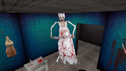 bloody skeleton on halloween maze