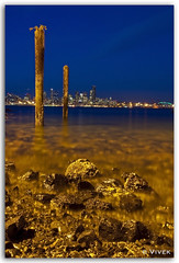 Alki Beach Long Exposure (Veevake) Tags: seattle longexposure water docks nikon rocks aqua waterfront nightshot shore alkibeach d90 18200mmvr veevake imagehallucinations