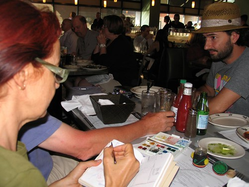 Urban Sketchers in Seattle- Isabel and Lapin (sketching Gerard)