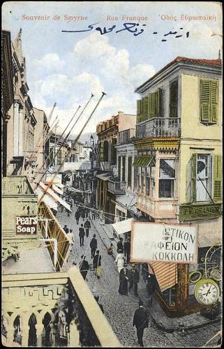 Karpostallarda yangından önce İzmir, Frenk Sokağı