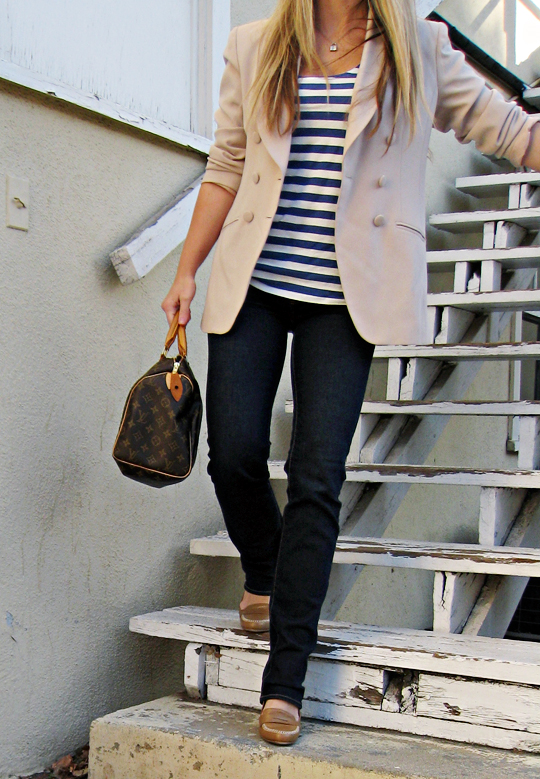 striped tank blazer and jeans+j brand jeans+loafers+louis vuitton speedy 30