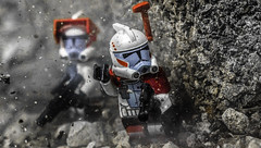 Hold Here! (Lego_LUTs) Tags: purple green yellow blue storm trooper star wars war lego outdoors clone troopers first order blasters afol minifigs minifigures bricks blocks canon toy toys force legos t3i republic people photoadd atst death rogue one dirt practical effects orange 60mm