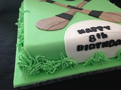 Hurling Birthday Cake (Cakes by Debs) Tags: chocolate girl boy kristie rice white black green grass fondant football sliotar hurls cake birthday hurling gaa square inch 10