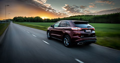Evening drive (opjuhola) Tags: red clouds car drive fast highway road summer evening asphalt pavement dark countryside country vehicle sun set maroon hurry blacktop finland ford edge transportation system op