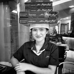 Stranger 54/100 (Stitch) Tags: stranger 100strangers portrait smile woman lady girl waitress pizza pizzahut ortigas manila philippines bnw blackandwhite weekly