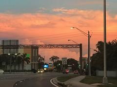 Sunset in Sarasota (soniaadammurray - Off) Tags: iphone sunset streetscene sky clouds trees traffic lights wires road sidewalk pavement buildings quartasunset