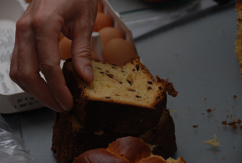 Reid slicing Panettone for French toast