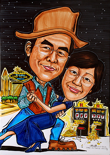 Couple dancing caricatures @ Las Vegas Casino jackpot