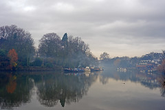 Smoke and Mist (* Garron Nicholls *) Tags: city trees winter england panorama mist cold reflection london history water beautiful silhouette thames river landscape boats outdoors island 50mm still frost alone quiet afternoon silent minolta empty sony peaceful overcast calm richmond 17 suburb riverbank solitary barge neighbourhood canalboat garron a900 welcomeuk