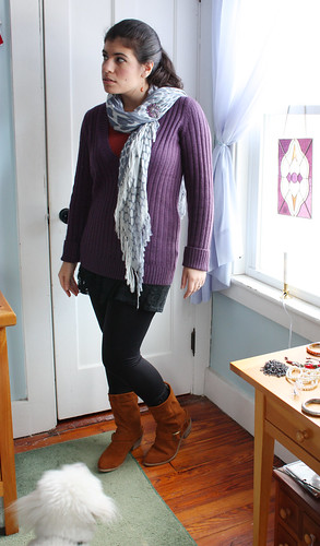 Purple Sweater, Black Leggings, Brown Suede Boots - a photo on ...
