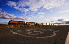 Westbound Glint along Route 66 (K-Szok-Photography) Tags: california sunrise canon outdoors route66 desert diesel trains socal mojave ge canondslr bnsf locomotives railroads cloudscapes newberrysprings alltrains adifferentpointofview deserttrains danceswithlight canon1740f4lusmgroup sbcusa aphotographersnature needlessub kenszok