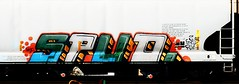 Spud (mightyquinninwky) Tags: railroad train geotagged graffiti tag graf tracks indiana railway tags tagged southernindiana railcar rails graff graphiti freight dmc spud trainart rollingstock paintedtrain railart graincar reflectivetape gile movingart taggedtrain paintedsteel evansvilleindiana rollingart movingfreight geo:lat=37943512 geo:lon=87627366 paintedrailcar taggedrailcar taggedsteel