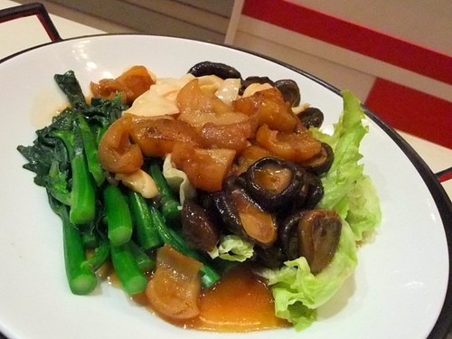 Choi Sum with Braised Sea Cucumber, Mushrooms and Abalone