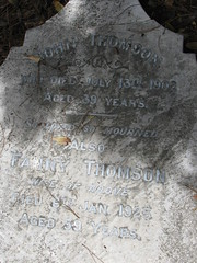 John and Fanny THOMSON (SandyEm) Tags: linwoodcemetery brokencross headstone grave christchurch lister vandalism suicide johnthomson fannythomson fannylister