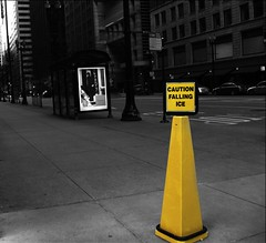 Caution (punk_drizzle) Tags: chicago canon illinois midwest raw powershot lasalle theloop randolph cautionfallingice reverseblackandwhite chdk a590is