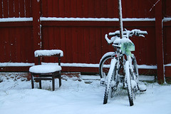 Sharing Warmth (Anshuman Johri) Tags: uk morning winter england snow cold canon fence eos frozen wooden still chair backyard december miltonkeynes unitedkingdom object freezing bicycles 1855mm dslr snowfall pp cycles 30d thepca