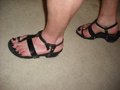 Clog sandals with new straps (2moshoes) Tags: wood man black sexy male men feet leather fun him shoe back toes toe sandals nail platform polish thong strap clogs heels nailpolish pantyhose toering sandal clog bastad drscholls backstrap