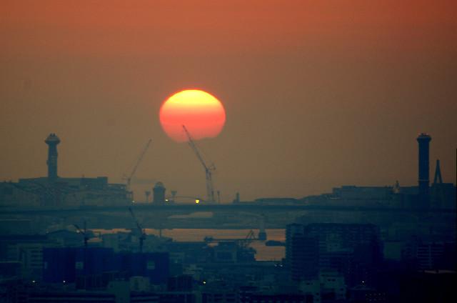 神戸に沈む夕日