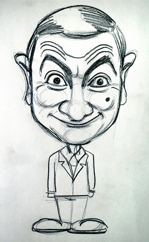 Mr Bean caricature in pencil demo 1