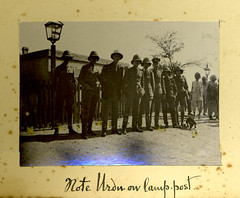 page 32 - Note Urdu on lamp-post (TinTrunk) Tags: old pakistan india sign train vintage found soldier album platform scan lamppost photograph trainstation 1910s sindh pithhelmet amri