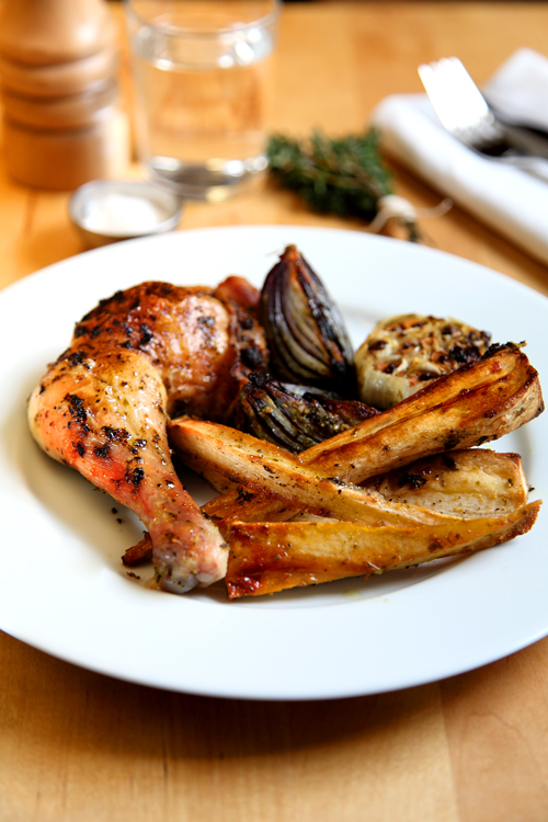 :: Herby Roast Chicken and Honey and Thyme Parsnips