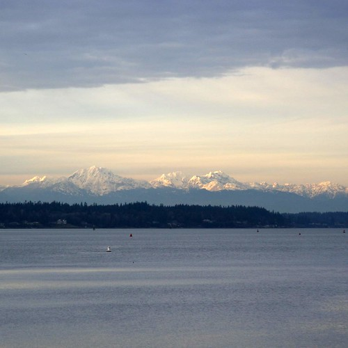 Olympic Mountains over the Puget Sound, seen from Budd Bay, Olympia, Washington