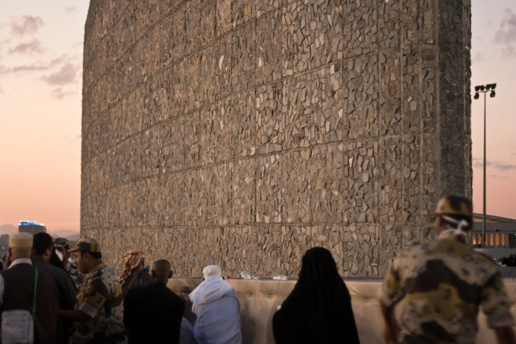 Hajj, Pilgrims, Mecca, Stoning the Jamarat at sunset