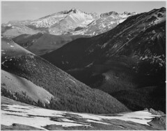 "Close in view, dark shadowed hills in foreground, mountains in background, ""Long's Peak, Rocky Mountain National Park,"" Colorado. (The U.S. National Archives) Tags: bw rockies longspeak anseladams rockymountainnationalpark coloado usnationalparkservice usnationalarchives nara:arcid=519963"