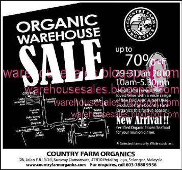 29 - 31 Jan: Organic Warehouse Sale