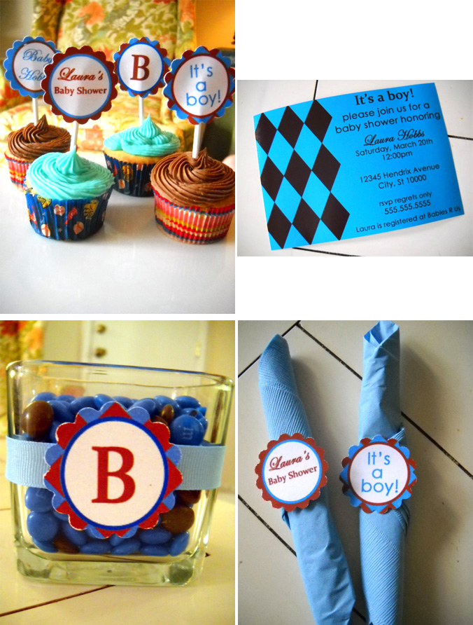 Boy Brown and Blue Argyle Baby Shower Collection