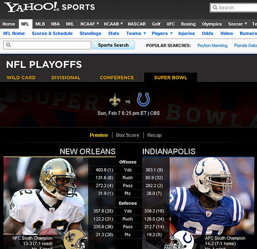 Yahoo! Sports Coverage of Super Bowl 44