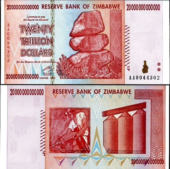20 biliónov Zimbabwe 2008