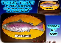 TROUT FISHERMAN BIRTHDAY CAKE (Anita (Auckland Cake Art)) Tags: birthday fish cake fishing display board sugar terry mounted icing trout