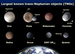 Eight Largest Trans-Neptunian Objects (TNOs) (Cornell SPIF) Tags: pluto charon hydra tno nix eris sedna namaka hiiaka orcus makemake dysnomia haumea quaoar sstour solarsystemtour 2007or10 weywot