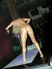 Getting wet (Roving I) Tags: lasvegas blondes events sydney longhair parties australia entertainment bottoms barefeet nudity performers gstrings promotions raunchy barebacks giantwineglasses