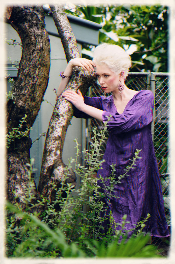 Purple Dress in Backyard, Fashion Catalogue