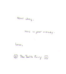 Letter from Tooth Fairy- close up