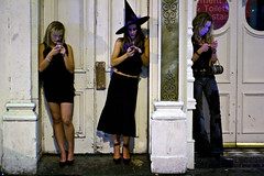 Important message (2) - Cardiff (Maciej 'Magic' Stangreciak) Tags: street people 3 halloween saint mobile wales photography reading mobiles outfit message nightout magic text mary cardiff drinking clubbing females stmary sms phones important texting messaging costum maciejstangreciak