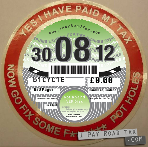 novelty pothole UK car tax disc - with my addition