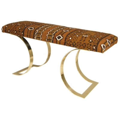 jmf curved bench in african batik