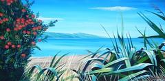 Distant Eastbourne (tracy macdonald) Tags: newzealand art painting artist acrylic hills canvas flax tusk pohutukawatree petonebeach tracymacdonald