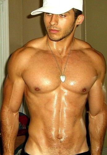 muscle shirtless hunk wearing hat so hot