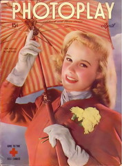 June Allyson on the cover of Photoplay, April 1945 (Silverbluestar) Tags: ladies girls red color classic film beautiful beauty umbrella vintage magazine hair stars grey women pretty dancer womens 1940s jacket gloves cover hollywood singer blonde actress movies celebrities mgm 1945 hairstyles carnations photoplay womens juneallyson metrogoldwynmayer