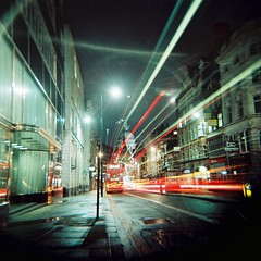 Fleet St towards St Paul's Cathedral (Anatoleya) Tags: street city light bus london 120 6x6 film saint st bulb night out square holga lomo xpro lomography crossprocessed long exposure cross traffic cathedral kodak hill trails slide pauls crossprocessing medium format date process fleet expired ektachrome processed e100vs farringdon ludgate 120gcfn vle gcfn anatoleya