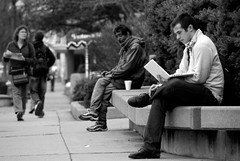 with and without (Barbara.K) Tags: street blackandwhite men sitting candid laptop difference tamronaf18200mmf3563 eos500d canonrebelt1i